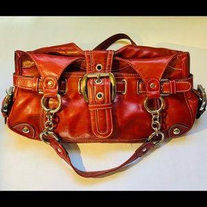 Kathy Van Zeeland Red Leather Shoulder Bag EUC